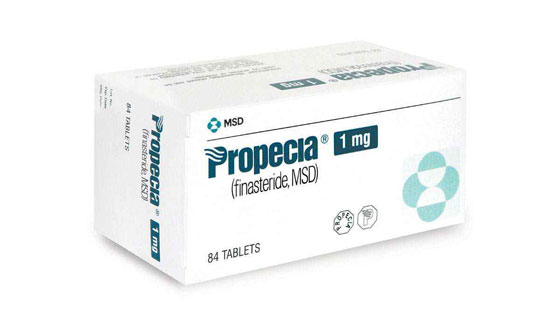 La foto muestra el paquete Propecia Genérico 1 mg (Finasterida)